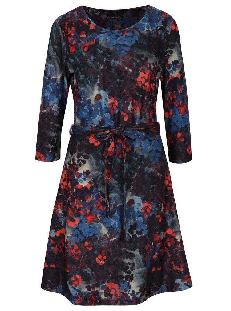 Červeno-modré vzorované šaty s 3/4 rukávem Smashed Lemon