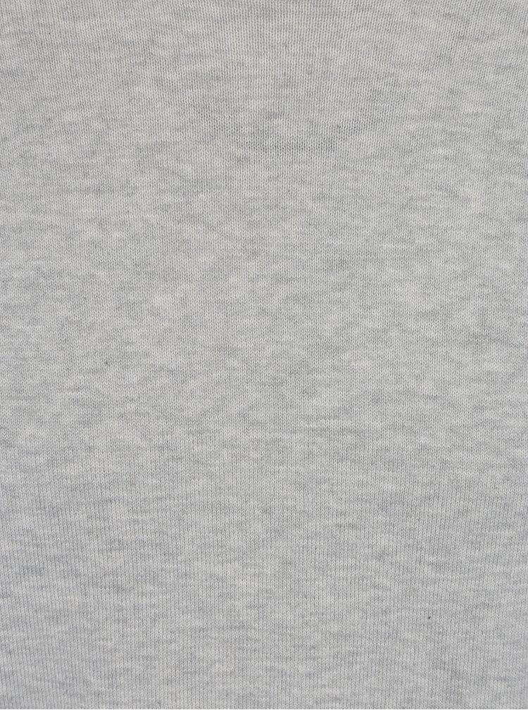 Světle šedý žíhaný svetr s příměsí hedvábí Selected Homme Tower