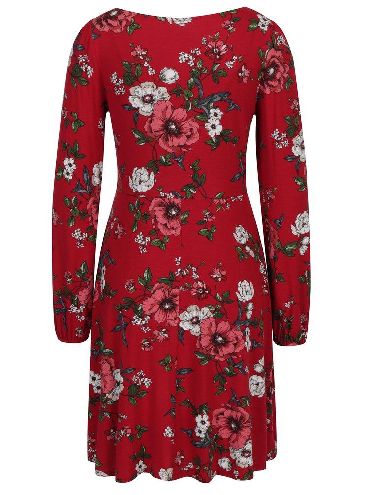 Červené květované šaty s řasením v dekoltu Dorothy Perkins