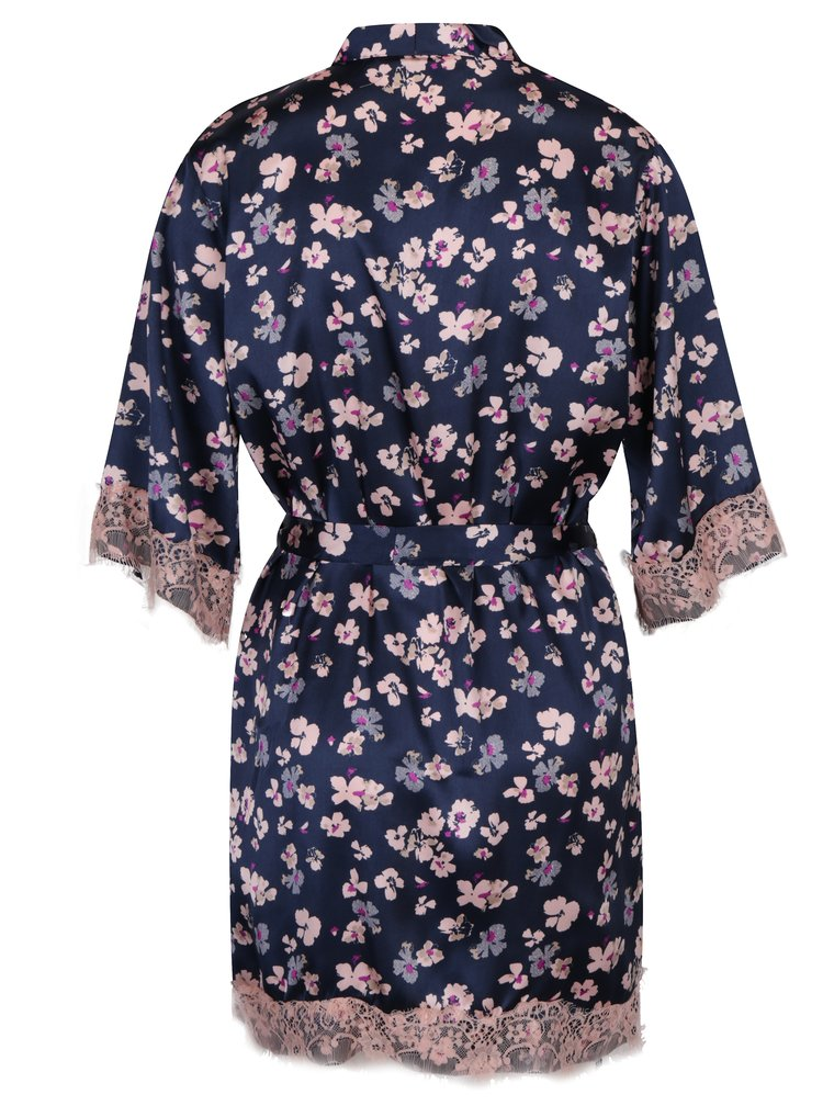 Halat bleumarin cu print floral si insertii din dantela Dorothy Perkins