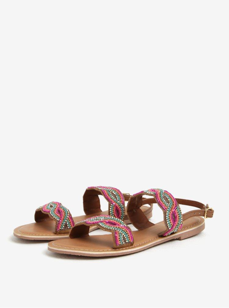 Růžovo-hnědé kožené sandály s korálky Dorothy Perkins