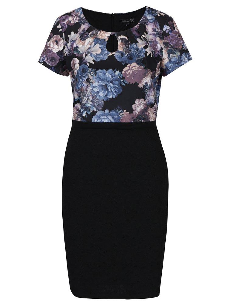 Černé květované šaty s průstřihem v dekoltu Smashed Lemon