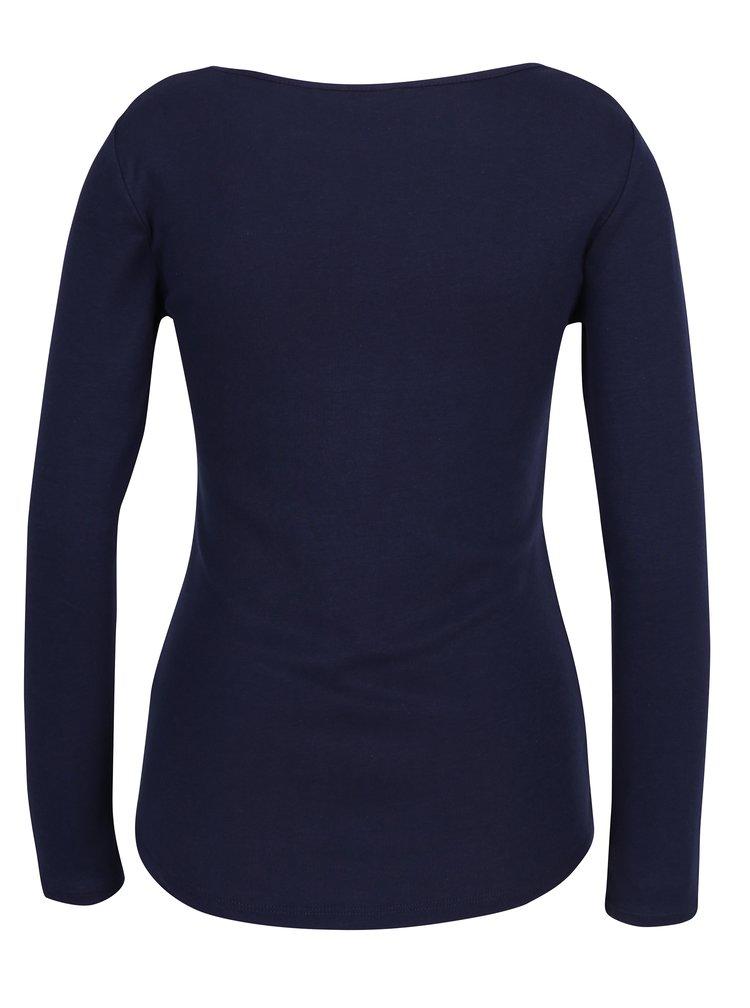 Tmavě modré tričko s dlouhým rukávem Dorothy Perkins Petite