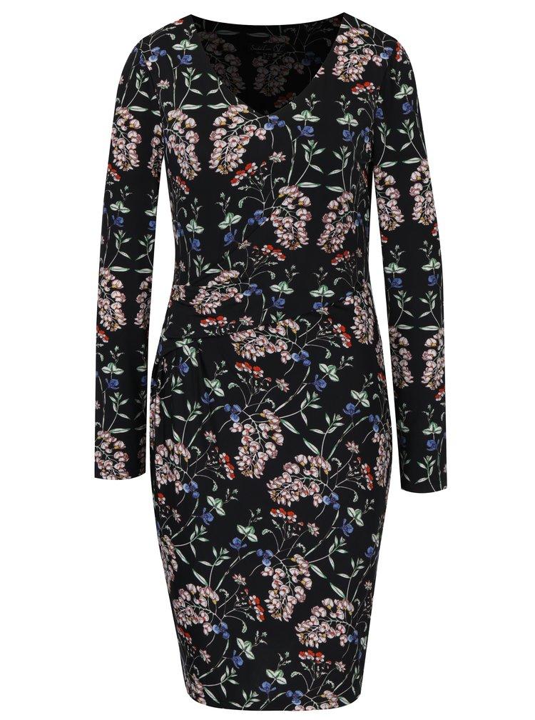 Černé květované šaty s řasením na boku Smashed Lemon