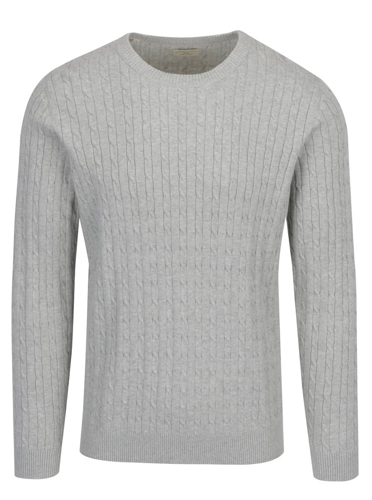 Pulover din bumbac organic gri deschis cu torsade - Selected Homme Clayton