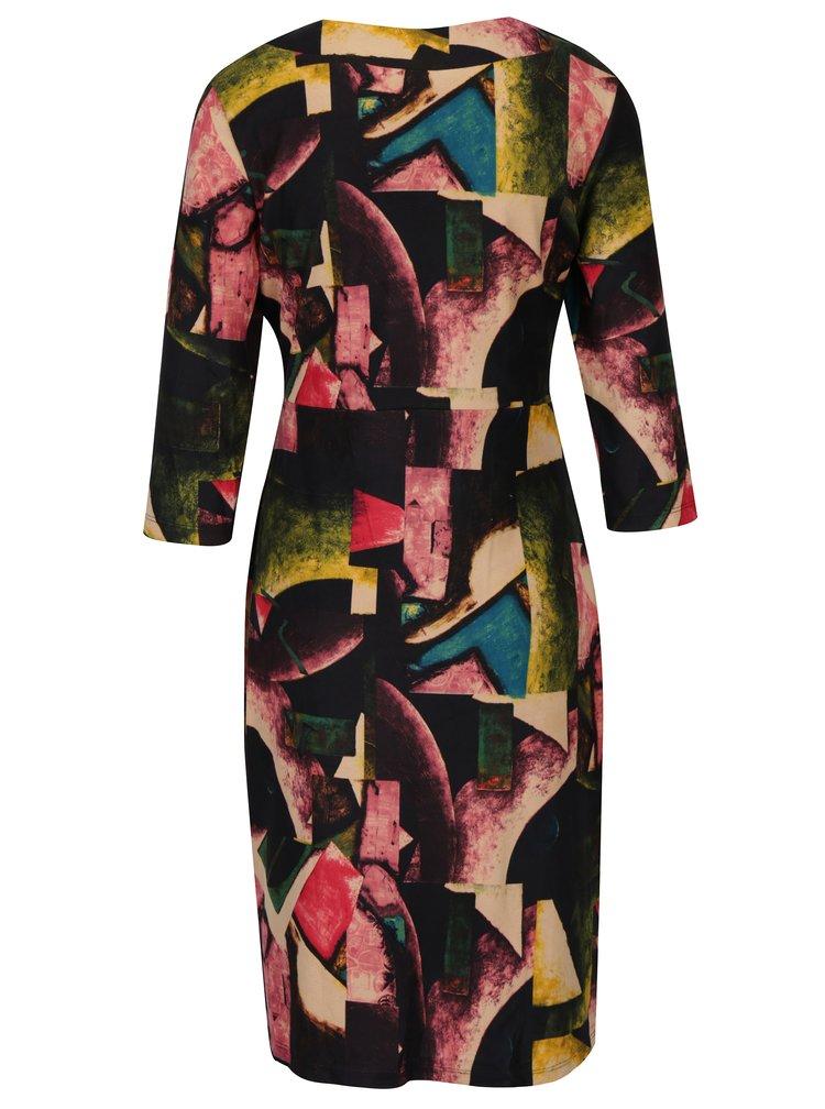 Růžovo-černé vzorované šaty s řasením na boku Smashed Lemon