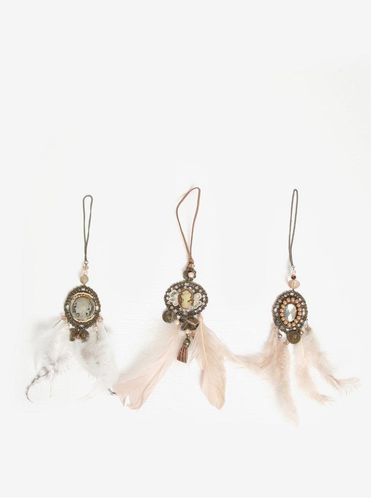 Set de 3 decoratiuni dreamcatcher cu camee - Kaemingk