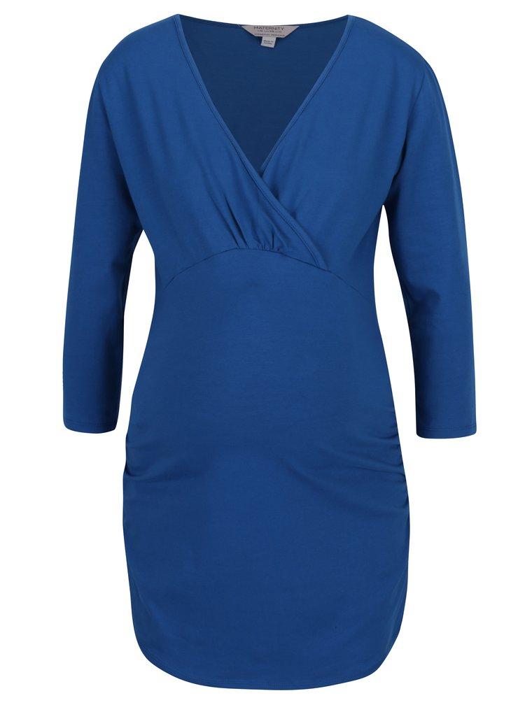 Bluza albastra cu decolteu suprapus - Dorothy Perkins Maternity