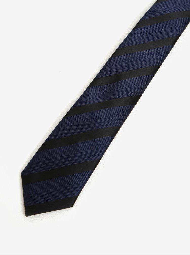 Černo-modrá pruhovaná kravata Selected Homme Xin Tie