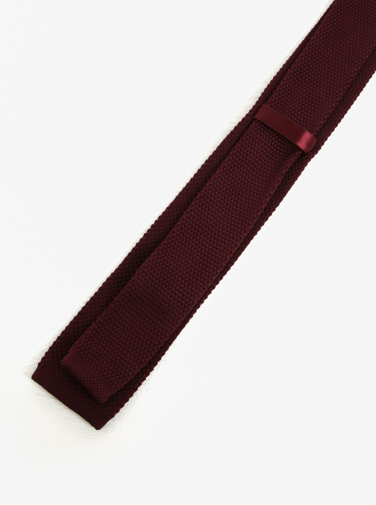 Vínová úpletová kravata Selected Homme Neal