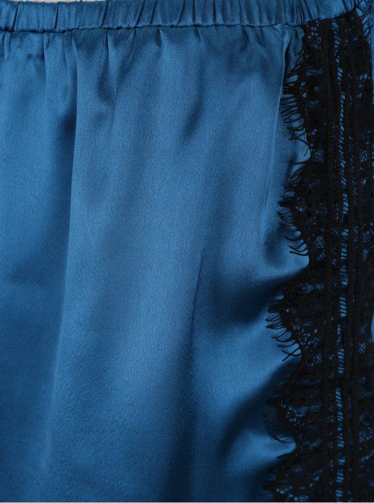 Petrolejový set saténového pyžama s krajkovými detaily Dorothy Perkins