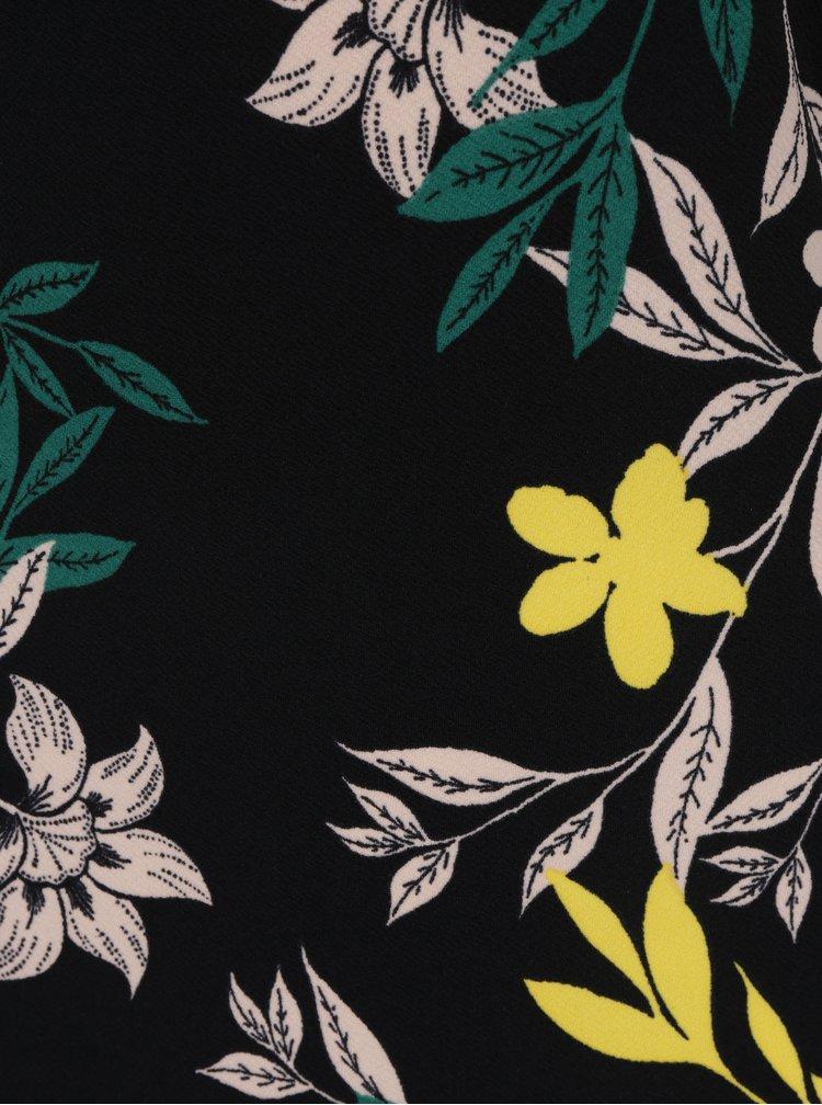 Černé květované šaty s krátkým rukávem Dorothy Perkins