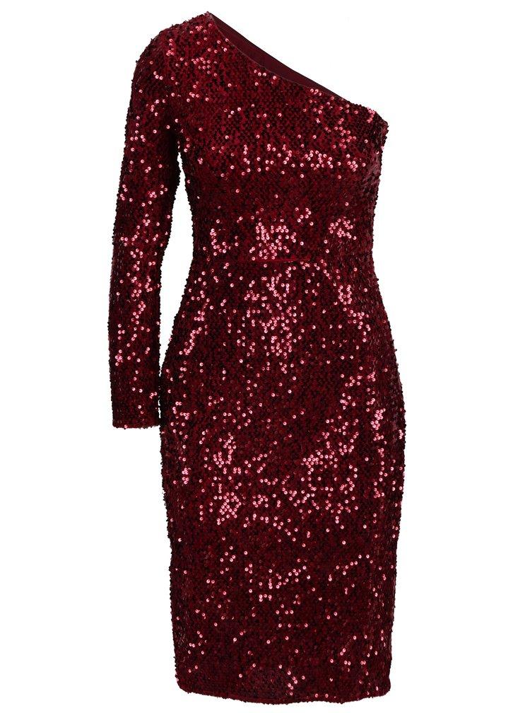 Červené flitrované asymetrické šaty Dorothy Perkins