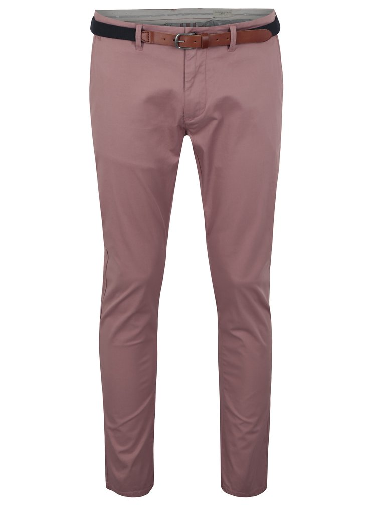 Pantaloni chino rosii slim fit cu curea - Selected Homme Yard