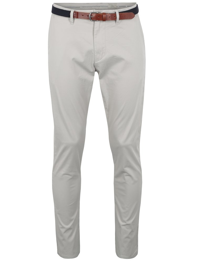 Krémové slim fit chino kalhoty Selected Homme Yard