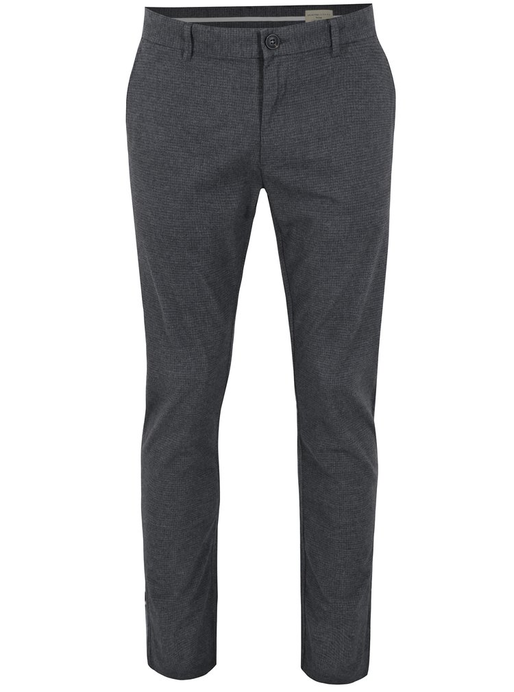 Šedé vzorované slim fit kalhoty Selected Homme Rolf