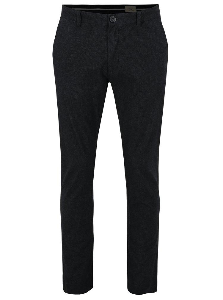Tmavě šedé žíhané slim fit kalhoty Selected Homme Rolf