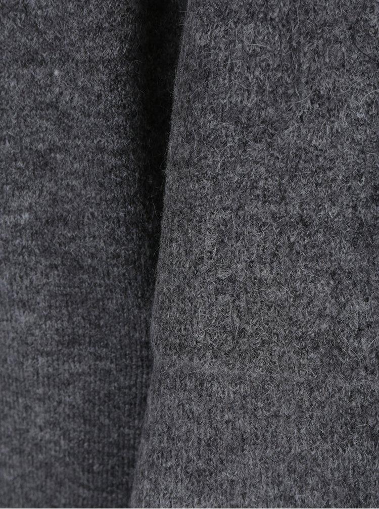 Tmavě šedý žíhaný kardigan s volány na rukávech ONLY Chérie