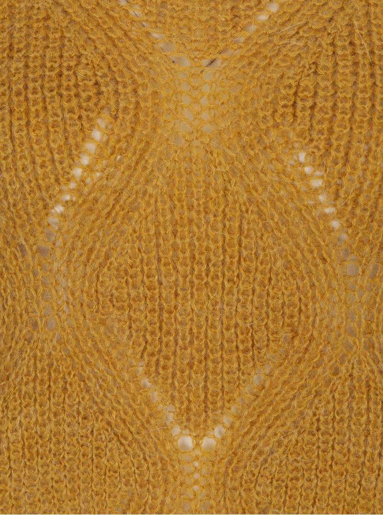 Hořčicový oversize krátký svetr ONLY Rihanna