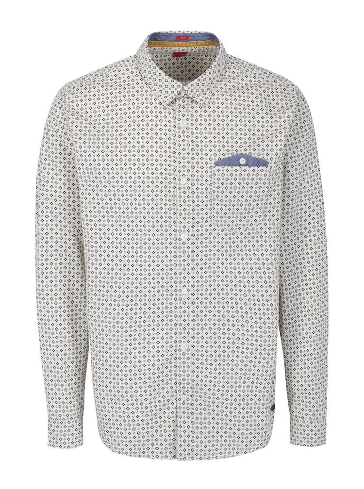 Modro-krémová pánská vzorovaná slim fit košile s.Oliver