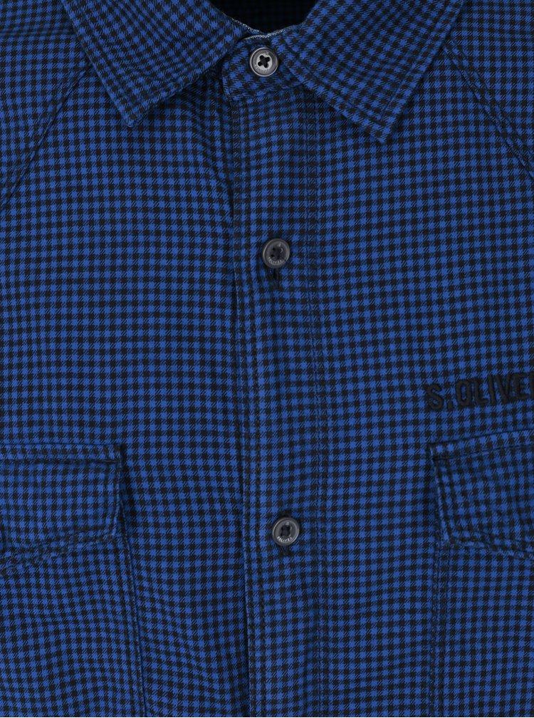 Černo-modrá pánská kostkovaná slim fit košile s.Oliver