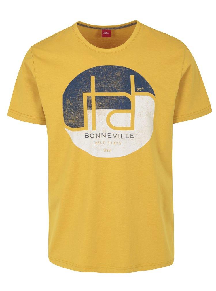 Tricou galben regular fit cu print s.Oliver
