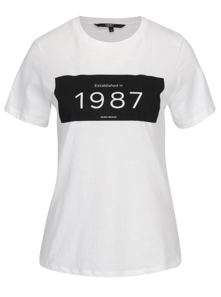 Krémové tričko s potiskem VERO MODA History