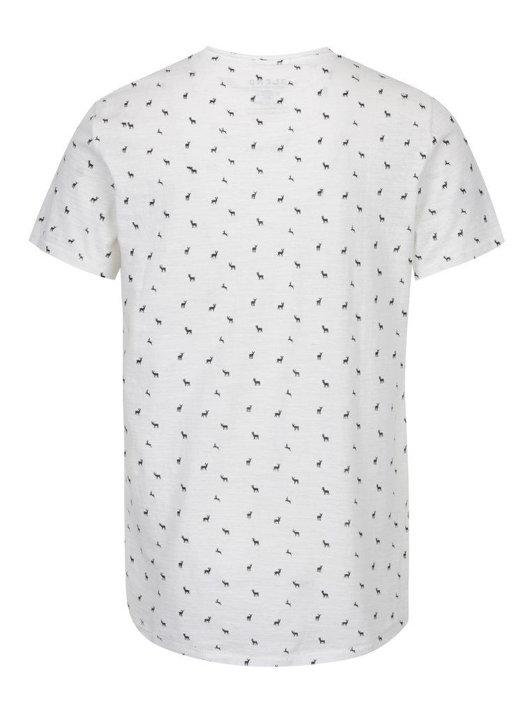 Tricou crem din bumbac cu print caprioare&cerbi - Blend
