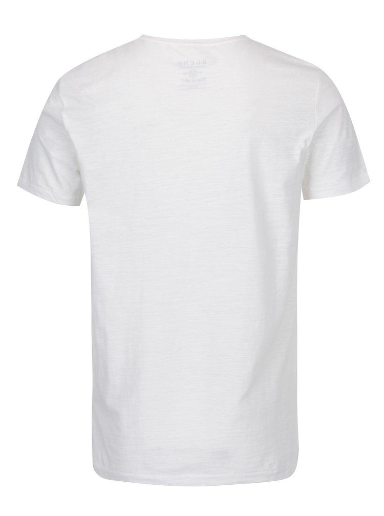 Krémové slim fit tričko s potiskem Blend