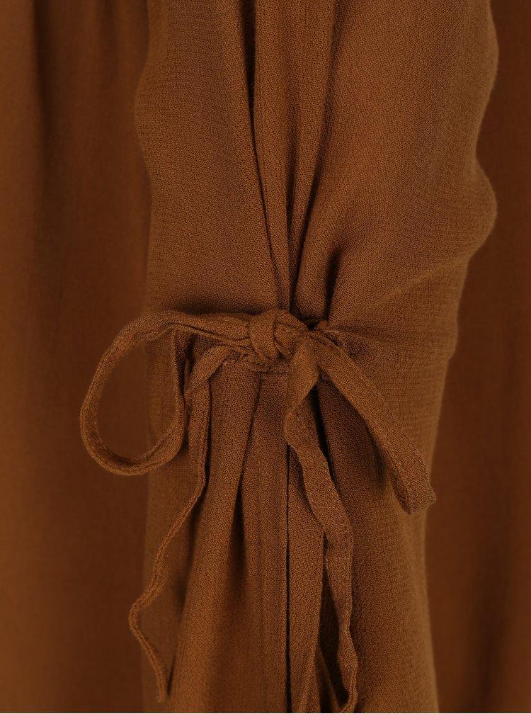 Hnedá blúzka s dlhým rukávom VERO MODA Ella
