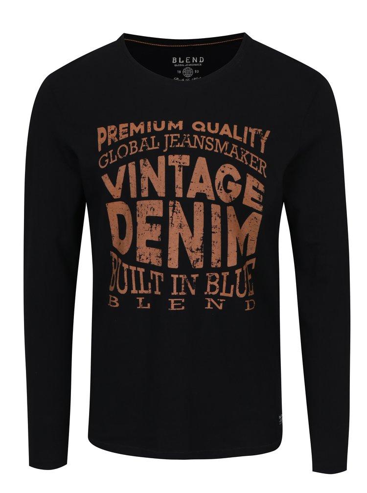 Černé slim fit tričko s dlouhým rukávem Blend