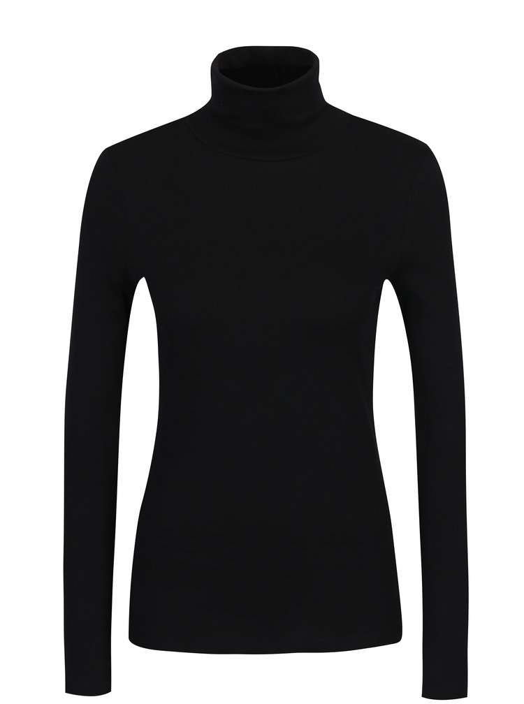 Černé dámské tričko s rolákem a dlouhým rukávem s.Oliver