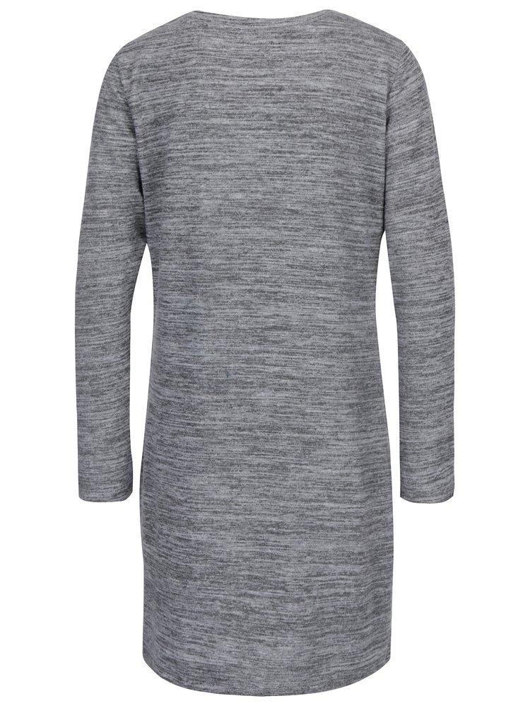 Šedé žíhané svetrové šaty Jacqueline de Yong Sorry