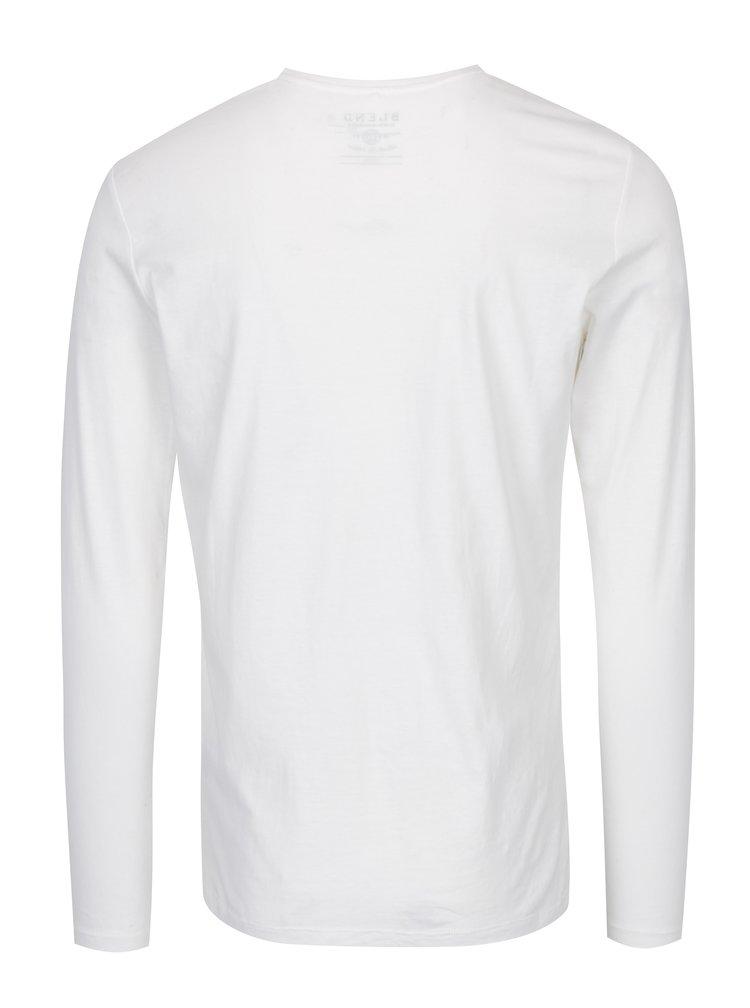 Bluza crem din bumbac cu print - Blend