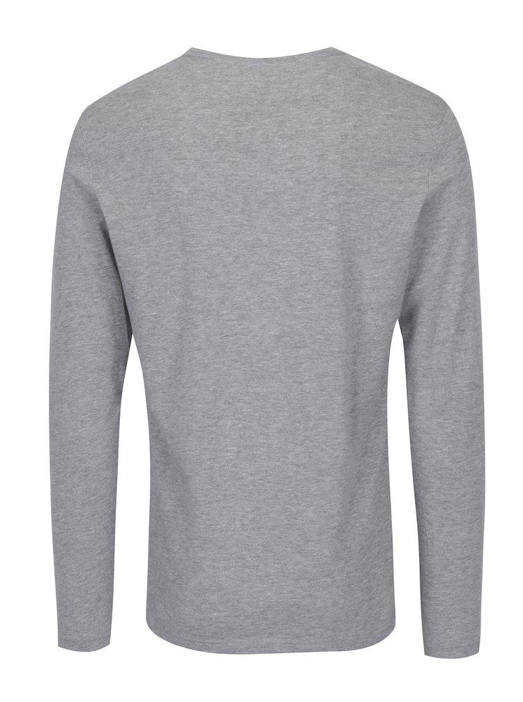 Šedé slim fit tričko s dlouhým rukávem Blend