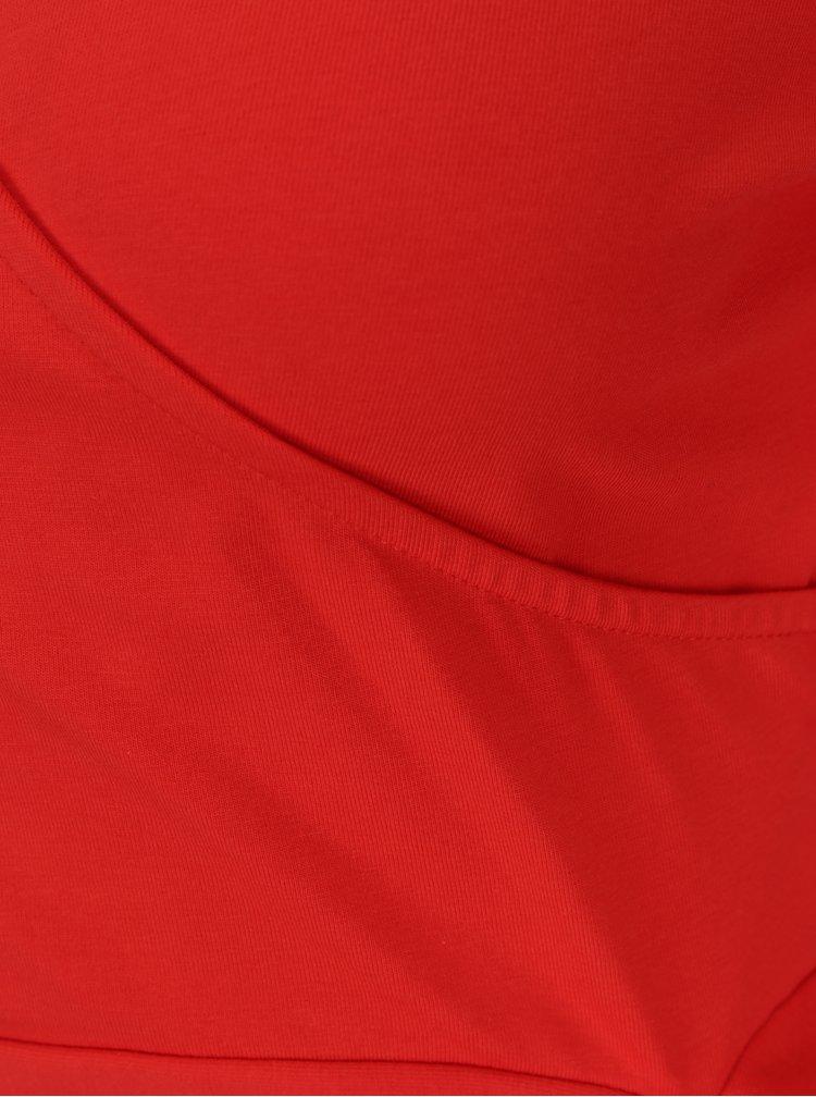 Červený crop top s překládaným výstřihem Noisy May Laila