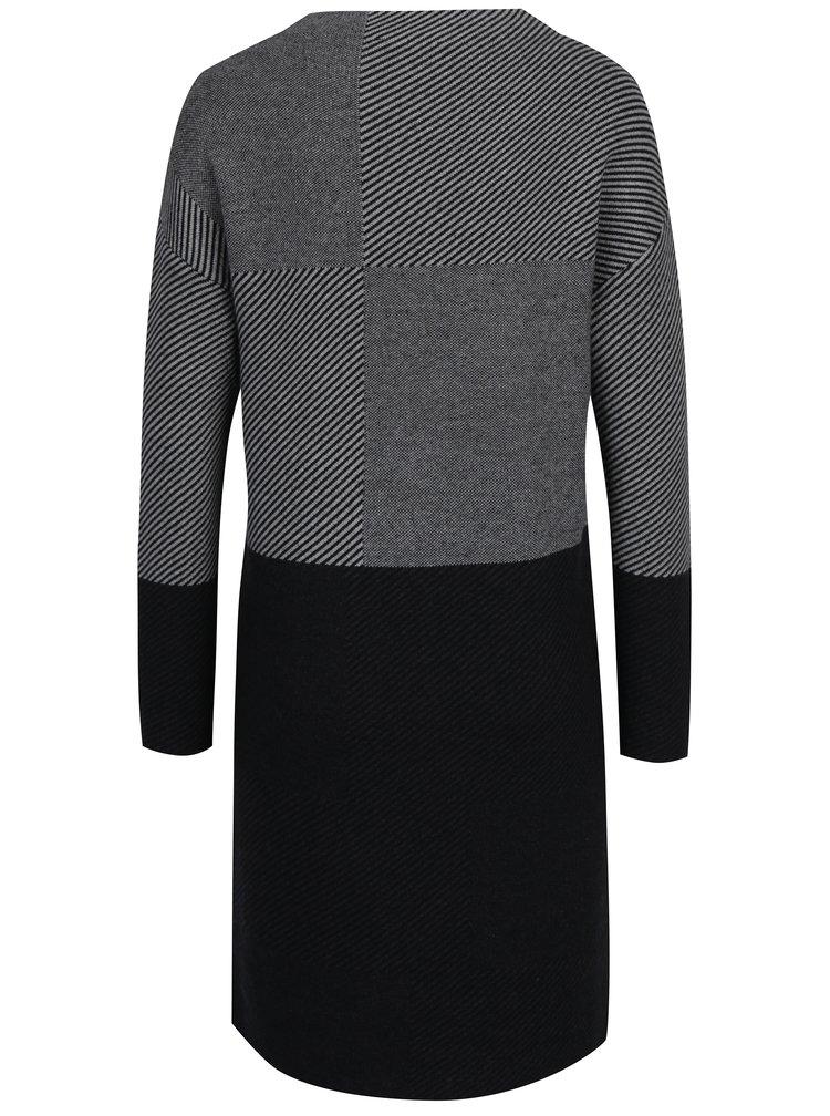 Rochie tricotata gri cu negru  s.Oliver