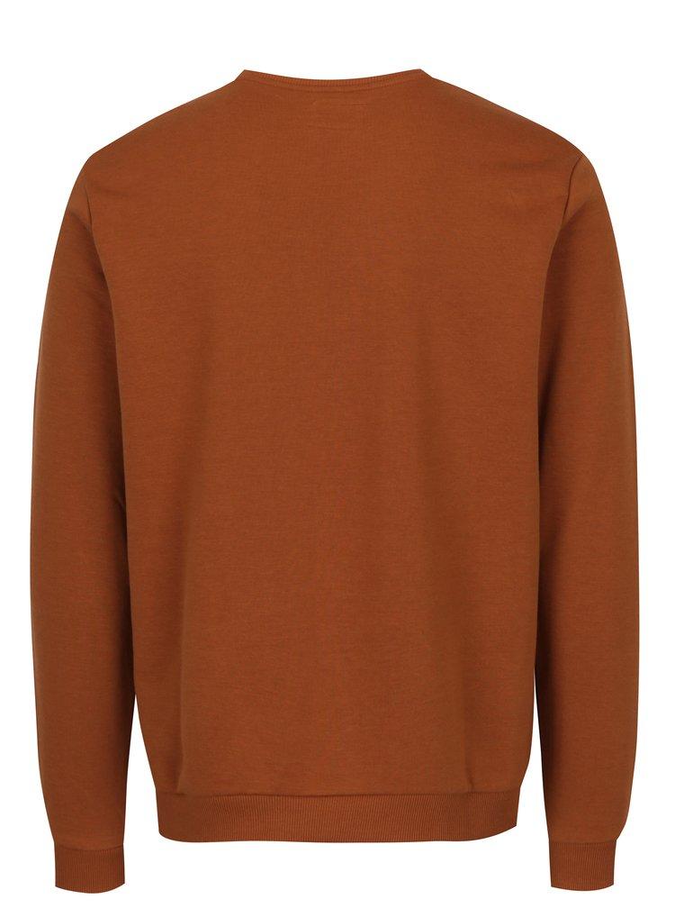 Bluza sport maro cu print text- Blend