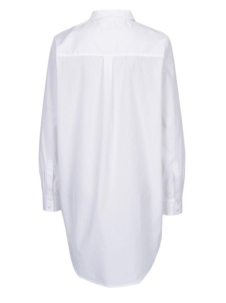 Bílá dlouhá košile s knoflíky na bocích Noisy May Conansa