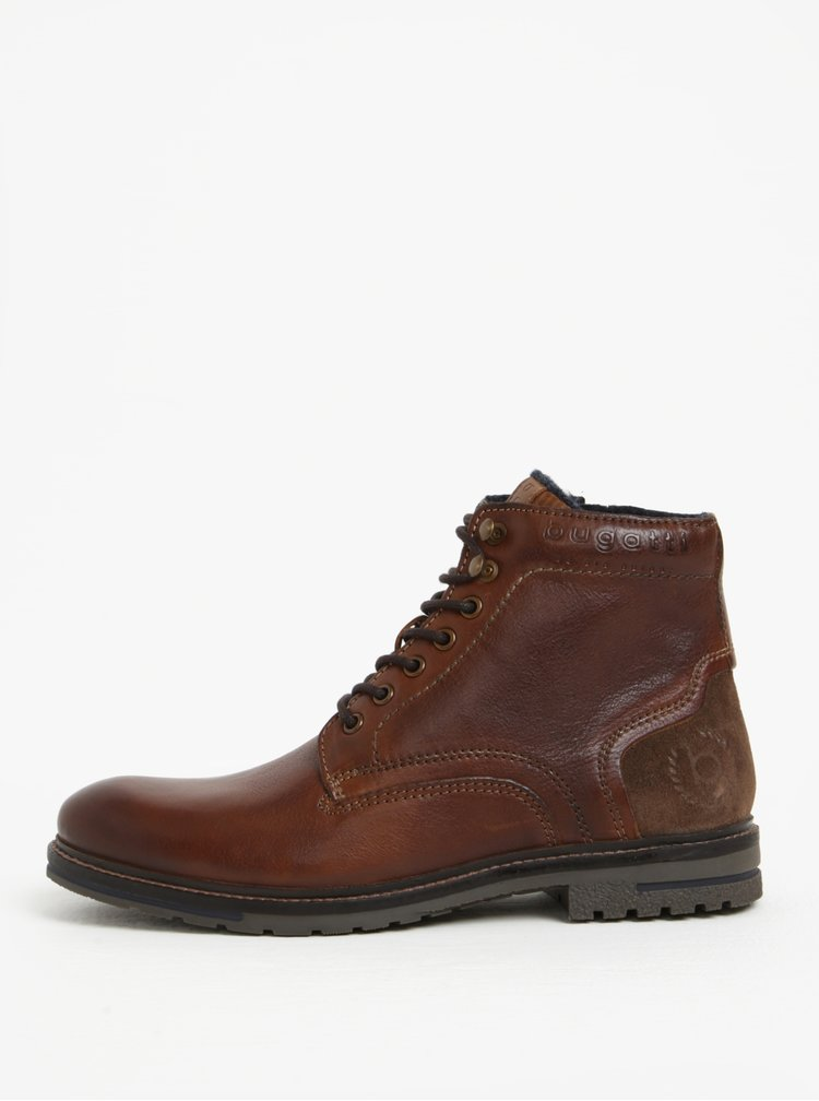 Hnědé pánské kožené kotníkové zimní boty bugatti Ringo