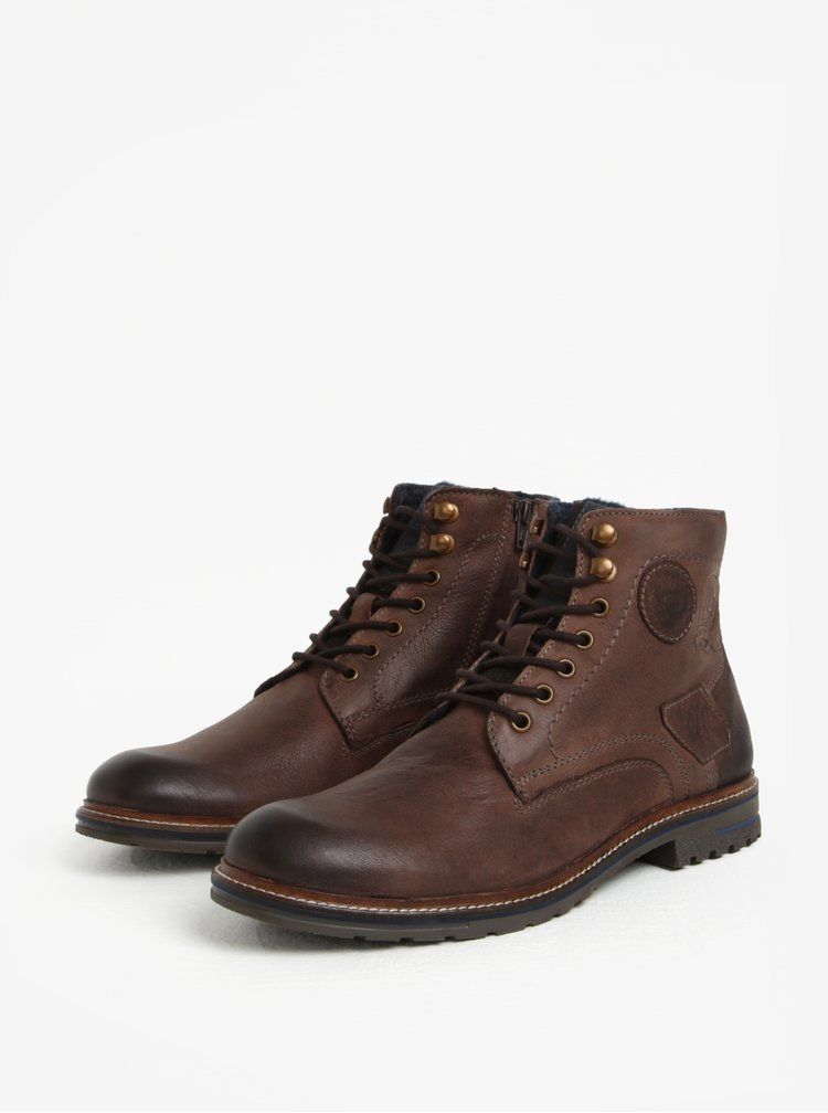Tmavě hnědé pánské kožené kotníkové zimní boty bugatti Ringo