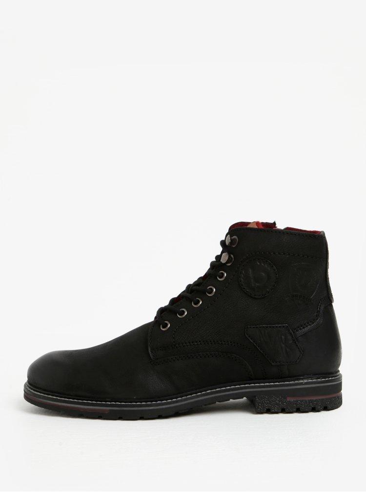 Černé pánské kožené kotníkové zimní boty bugatti Ringo