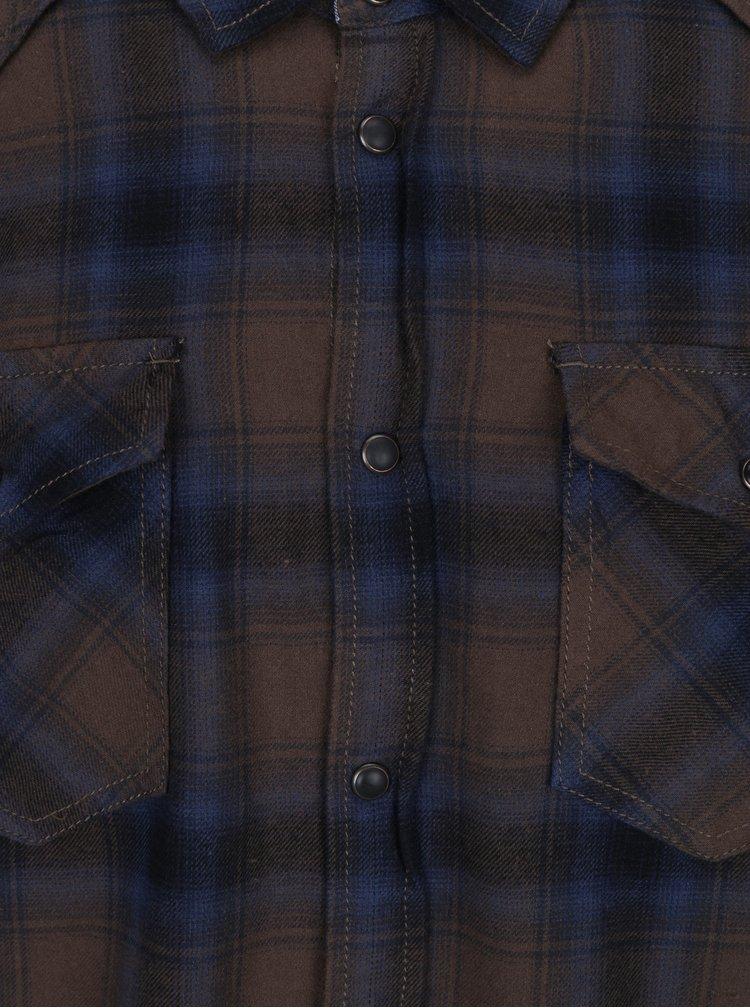 Camasa slim fit din flanel cu carouri albastru & maro - Blend