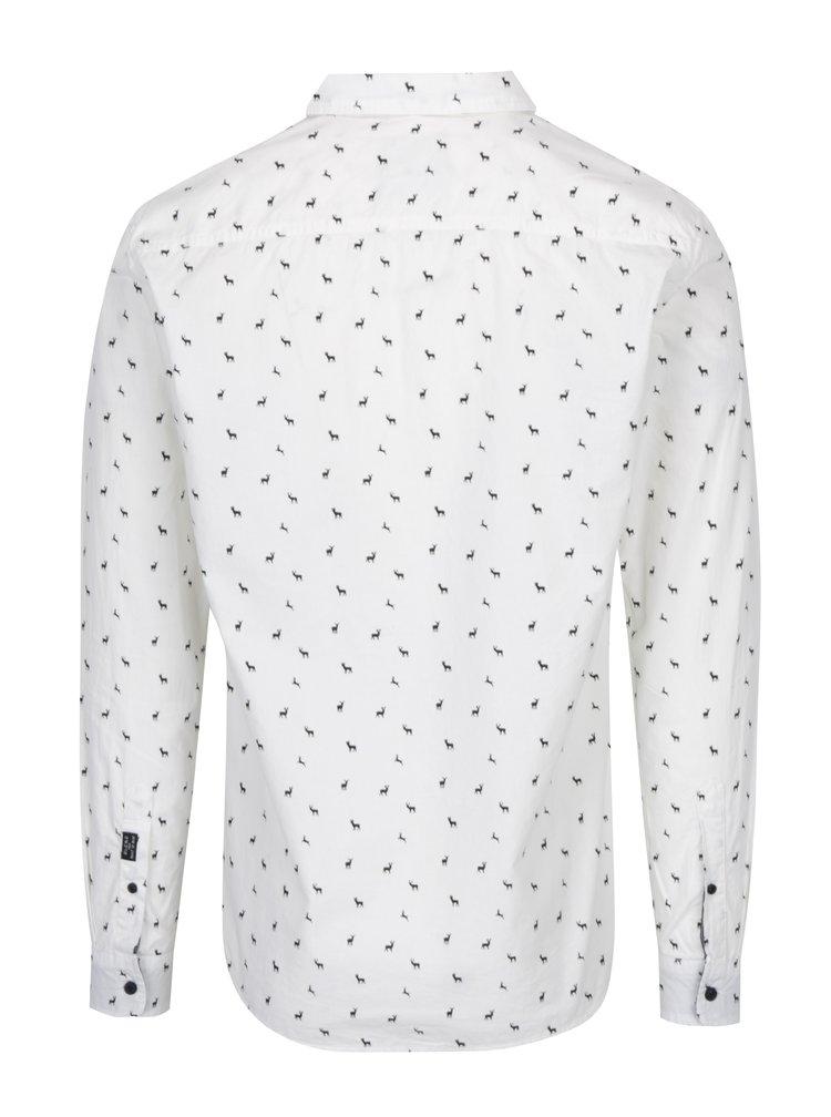 Krémová slim fit košile s jemným vzorem Blend