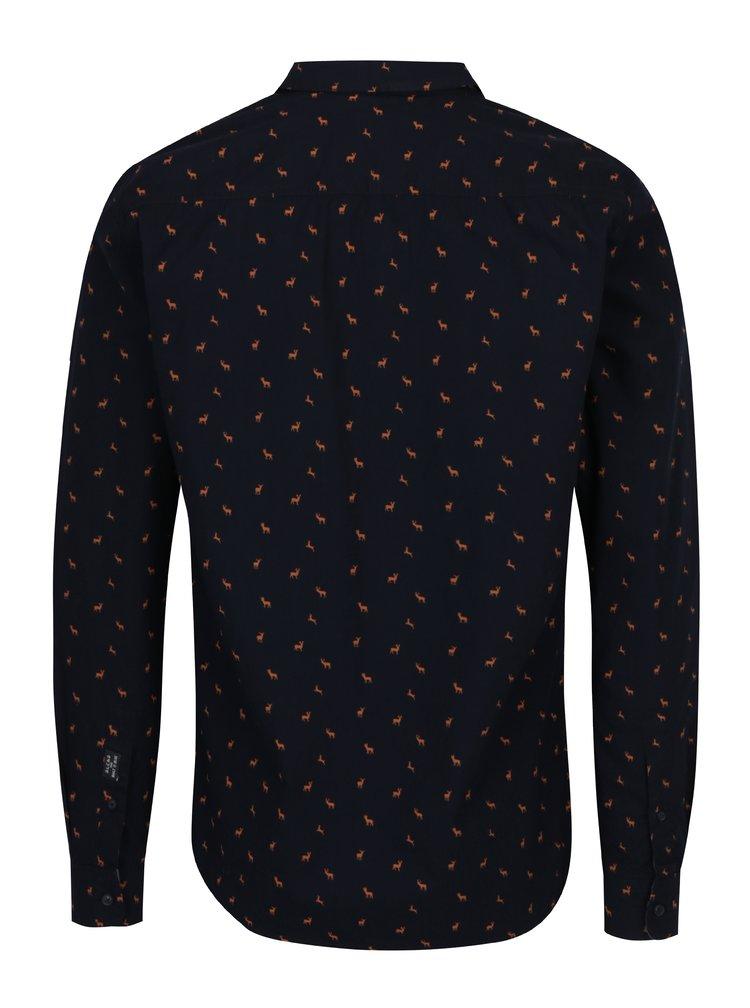 Camasa neagra slim fit cu print discret - Blend