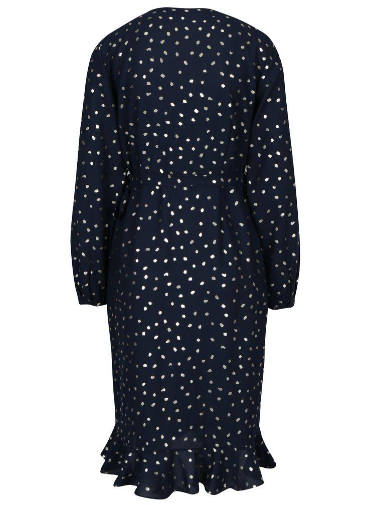 Rochie bleumarin cu print buline si volane VERO MODA Henna