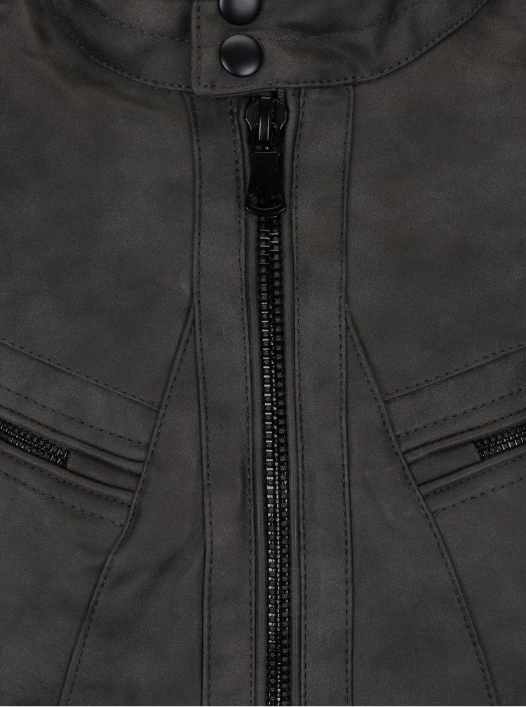 Tmavě šedá koženková bunda Blend