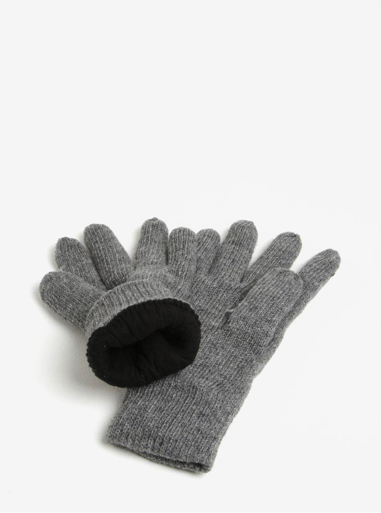 Šedé zimní rukavice s příměsí vlny Blend