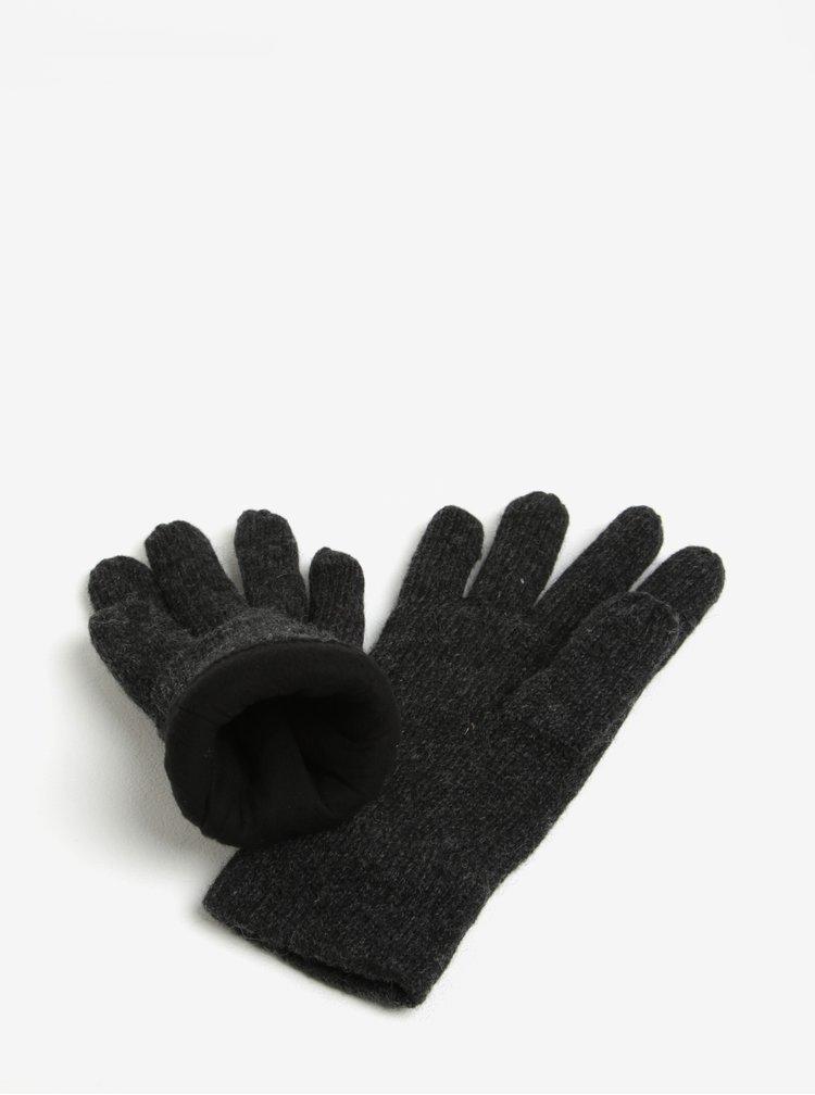 Manusi gri inchis din amestec de lana - Blend