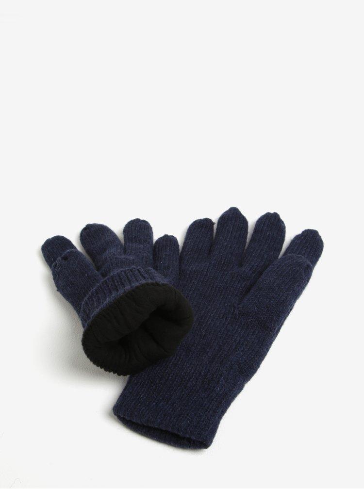 Tmavě modré zimní rukavice s příměsí vlny Blend